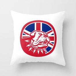 British Bulldog Head Union Jack Flag Icon Throw Pillow