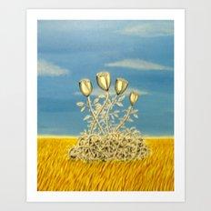 Silver Flowers on Golden Grass Art Print