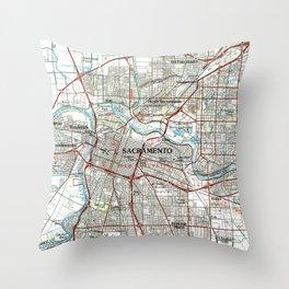 Sacramento California Map (1994) Throw Pillow