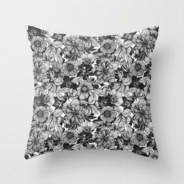 Hellebore lineart florals Throw Pillow