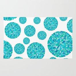 Turquoise Round Gem Pattern Rug