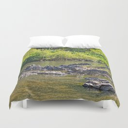 Beautiful rocks in the tranquil river Duvet Cover