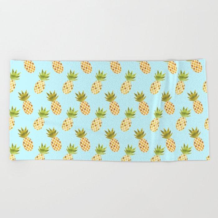 Blue Tropical Pineapple Pattern Beach Towel