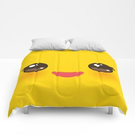 Kawaii Cartoon Face on yellow background Comforters