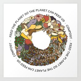 Feed the Planet Composting Wheel Art Print