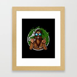 Bigfoot Hippie Smoking Weed Framed Art Print