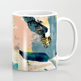 033.4: a vibrant abstract design in pink blue yellow an black Alyssa Hamilton Art Coffee Mug