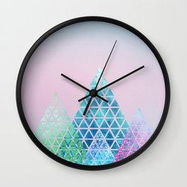 Geometric Christmas Trees Wall Clock