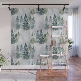 Artistic hand painted green white watercolor trees polka dots Wall Mural