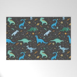 Dinosaurs in Space in Blue Welcome Mat