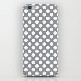 White Polka Dots with Grey Background iPhone Skin