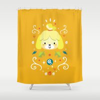 animal crossing Shower Curtains featuring Animal Crossing: Isabelle by Anth Rodi