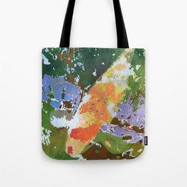 Japanese Koi in Pond - Orange & White Goldfish Watercolor Art Tote Bag
