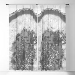 Gray Black White Agate Glitter Glamor #1 #gem #decor #art #society6 Sheer Curtain