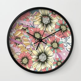 Cute pink pattern with lovely flowers Wall Clock