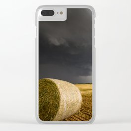 Spinning Gold - Storm Over Hay Bales in Kansas Field Clear iPhone Case