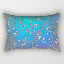 Abstract Blue Golden Rain Rectangular Pillow