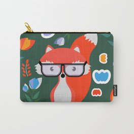 Fox with glasses and flowers Carry-All Pouch