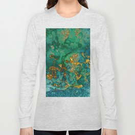 Malachite and Gold Glitter Stone Ink Abstract Gem Glamour Marble Long Sleeve T-shirt