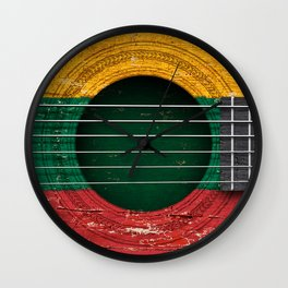 Old Vintage Acoustic Guitar with Lithuanian Flag Wall Clock
