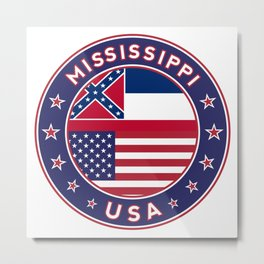 Mississippi, USA States, Mississippi t-shirt, Mississippi sticker, circle Metal Print