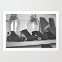 Antique Shop Black & White Photography Art Print