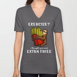 Sloth Exercise I Thought You Said Extra Fries Unisex V-Neck