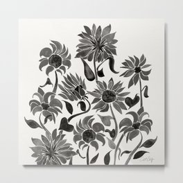 Sunflowers – Black Palette Metal Print