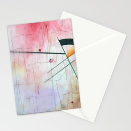 Watercolored Love Scene - Heartbeat Reds Stationery Cards