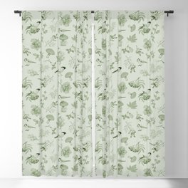 Green Autumn Botanical Pattern Blackout Curtain