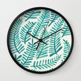 Green Fronds Wall Clock