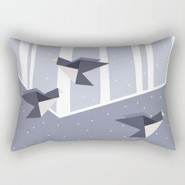 Elegant Origami Birds Abstract Winter Design Rectangular Pillow