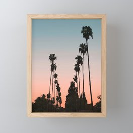 California Sunset // Palm Tree Silhouette Street View Orange and Blue Color Sky Beach Photography Framed Mini Art Print