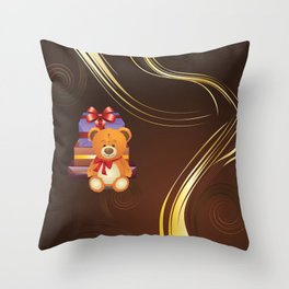 Teddy bear with gift boxes Throw Pillow