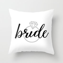 Bride with Diamond Ring (White Gold) Throw Pillow