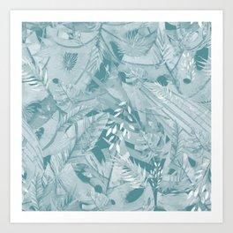 Retro Green Tropical Palm Garden Jungle Island Art Print