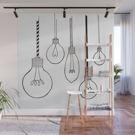 Lightbulb black white Wall Mural