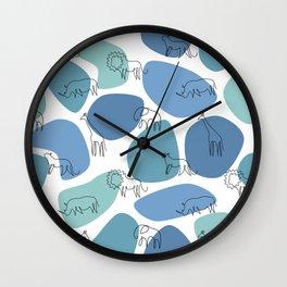 Big 5 Safari Minimalistic Line Art Wall Clock