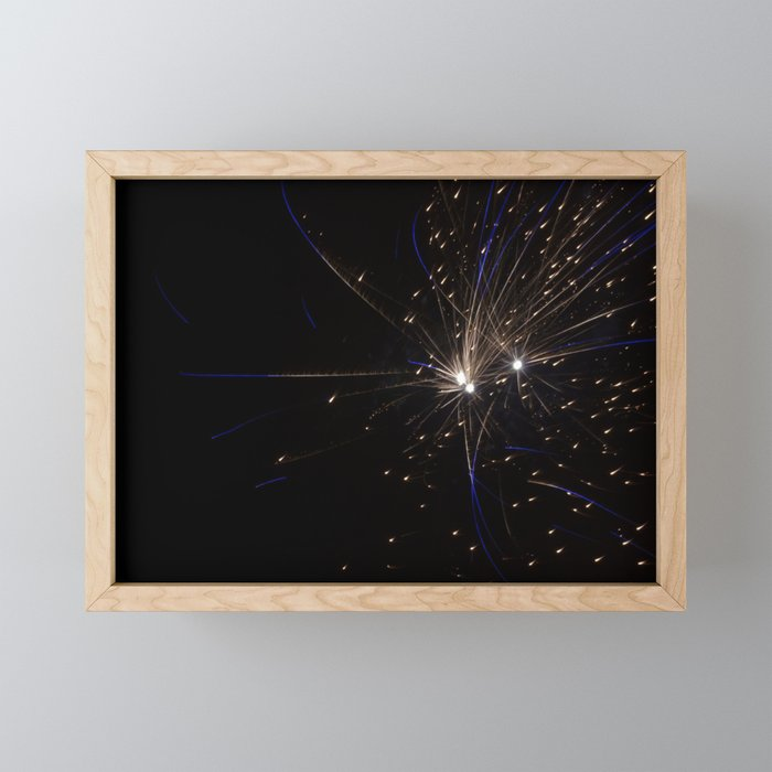 Gold and Blue Sparks Framed Mini Art Print