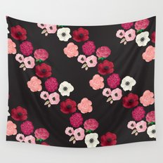 Black & Flowers Wall Tapestry