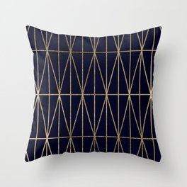 Modern gold geometric triangles pattern navy blue watercolor Throw Pillow