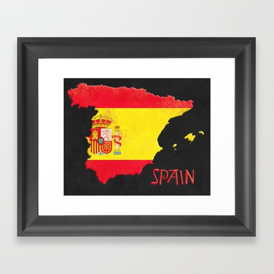 Spain Vintage Map Framed Art Print