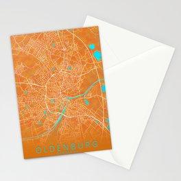 Oldenburg, Germany, Gold, Blue, City, Map Stationery Cards