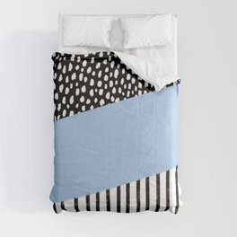 Polka Dots and Stripes Pattern (black/white/blue) Comforters