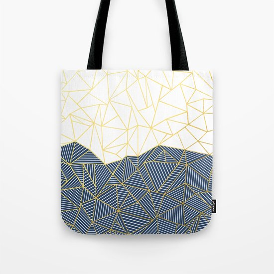 Ab Half and Half Navy Gold Tote Bag