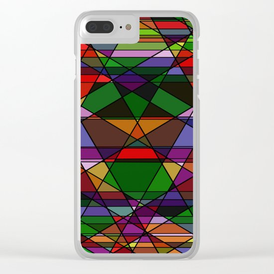 Stain Glass Mosaic Dark Clear iPhone Case