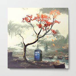 Tardis With A Tree Metal Print