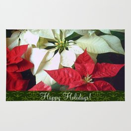 Mixed Color Poinsettias 2 Happy Holidays S6F1 Rug