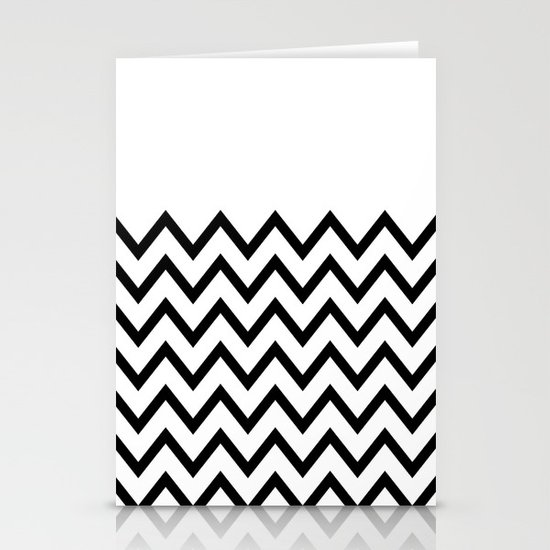 Black Chevron On White Stationery Cards