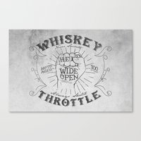 whiskey Canvas Prints featuring Whiskey Throttle  by Kris Petrat Design